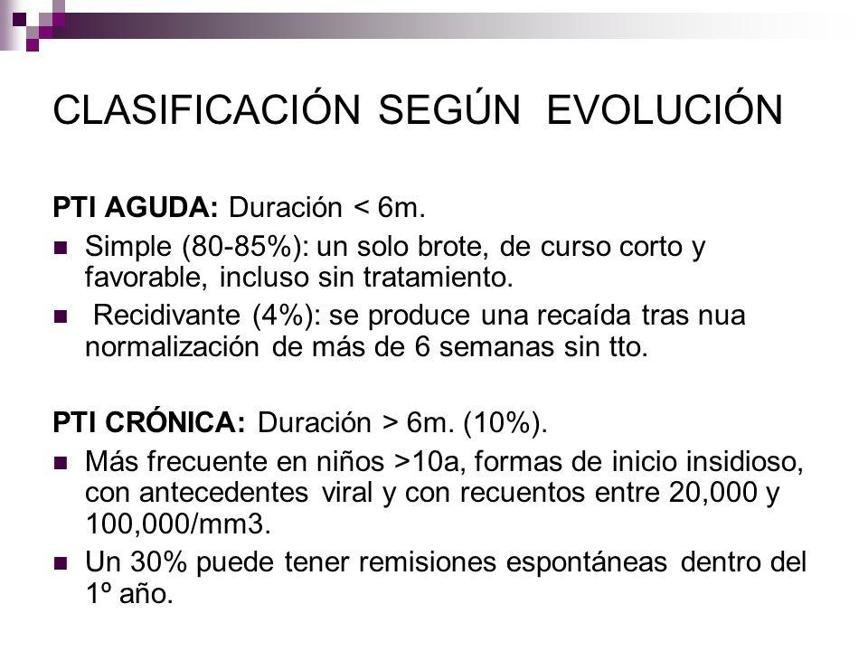 CLASIFICACIÓN SEGÚN EVOLUCIÓN PTI AGUDA: Duración < 6m. Simple (80-85%): un solo brote, de curso corto y favorable, incluso sin tratamiento. Recidivan