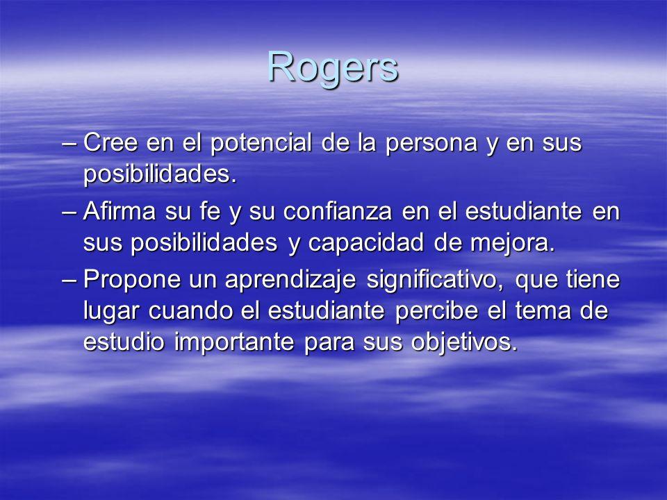 Rogers –Cree en el potencial de la persona y en sus posibilidades. –Afirma su fe y su confianza en el estudiante en sus posibilidades y capacidad de m