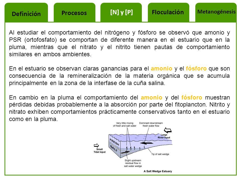 Al estudiar el comportamiento del nitrógeno y fósforo se observó que amonio y PSR (ortofosfato) se comportan de diferente manera en el estuario que en