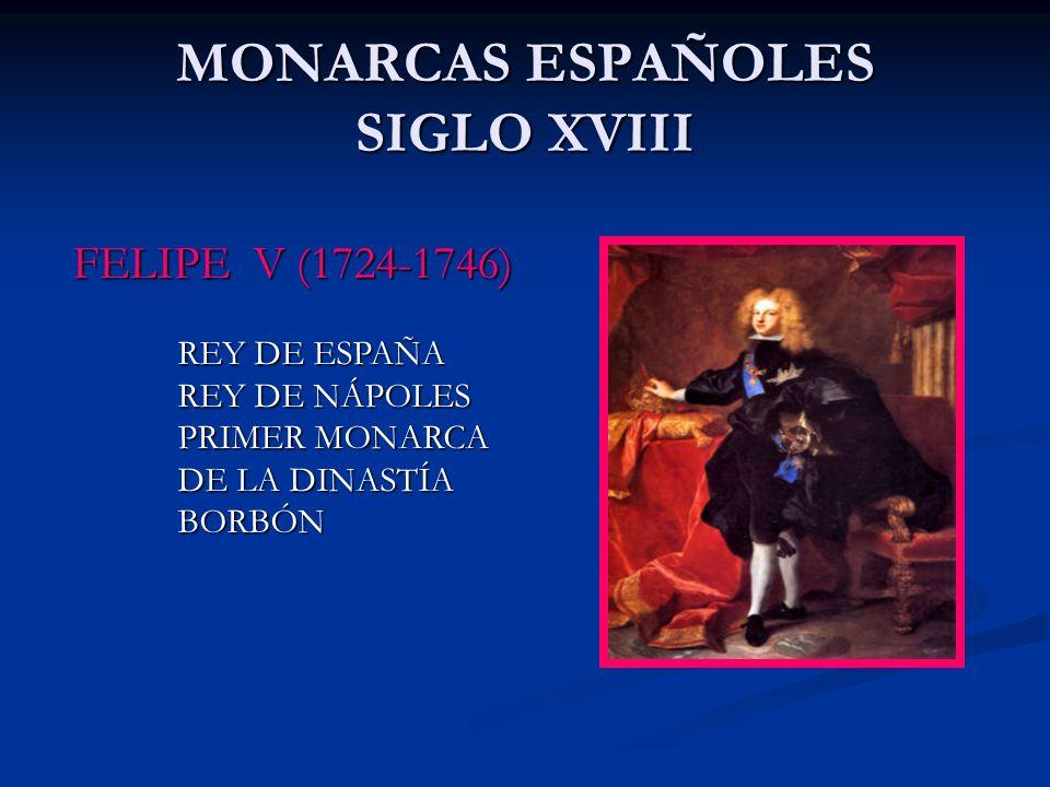 MONARCAS ESPAÑOLES SIGLO XVIII FELIPE V (1724-1746) REY DE ESPAÑA REY DE NÁPOLES PRIMER MONARCA DE LA DINASTÍA DE LA DINASTÍA BORBÓN BORBÓN