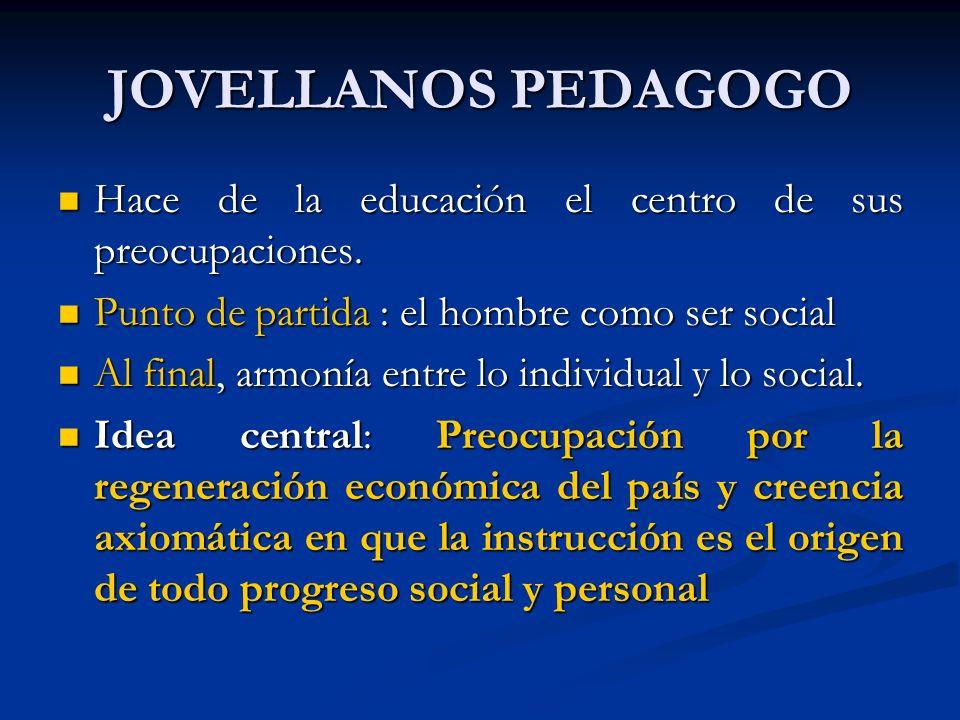 JOVELLANOS PEDAGOGO Hace de la educación el centro de sus preocupaciones. Hace de la educación el centro de sus preocupaciones. Punto de partida : el
