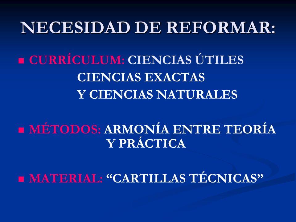 NECESIDAD DE REFORMAR: CURRÍCULUM: CIENCIAS ÚTILES CIENCIAS EXACTAS Y CIENCIAS NATURALES MÉTODOS: ARMONÍA ENTRE TEORÍA Y PRÁCTICA MATERIAL: CARTILLAS