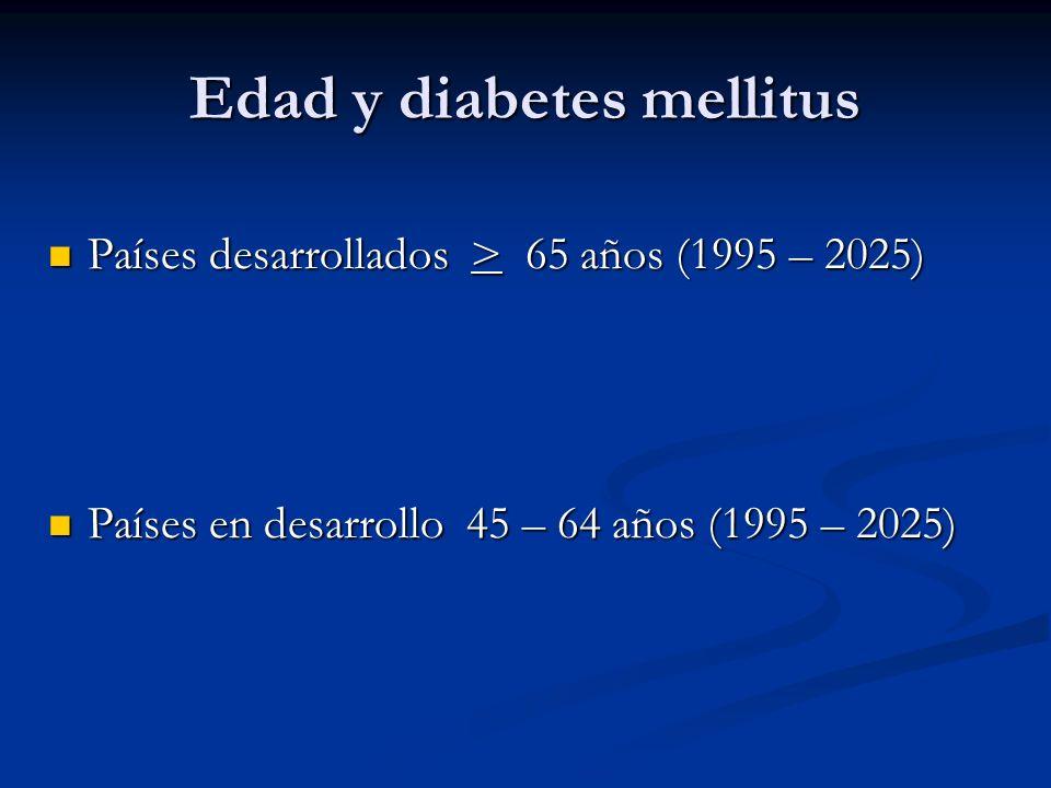 Edad y diabetes mellitus Países desarrollados > 65 años (1995 – 2025) Países desarrollados > 65 años (1995 – 2025) Países en desarrollo 45 – 64 años (