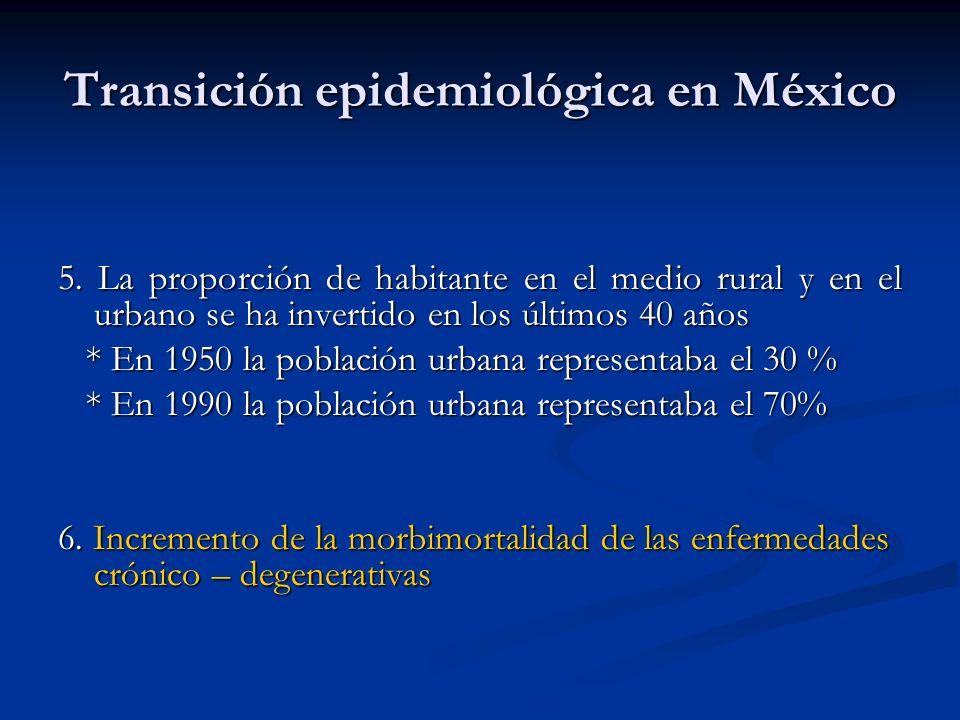 Transición epidemiológica en México 5. La proporción de habitante en el medio rural y en el urbano se ha invertido en los últimos 40 años * En 1950 la