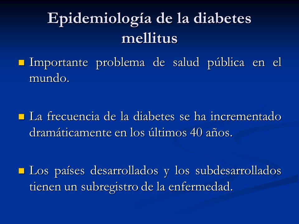 Epidemiología de la diabetes mellitus Importante problema de salud pública en el mundo. Importante problema de salud pública en el mundo. La frecuenci
