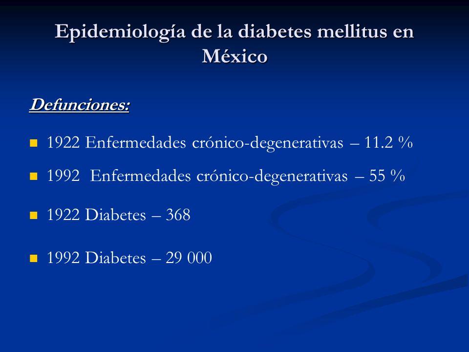 Epidemiología de la diabetes mellitus en México Defunciones: 1922 Enfermedades crónico-degenerativas – 11.2 % 1992 Enfermedades crónico-degenerativas