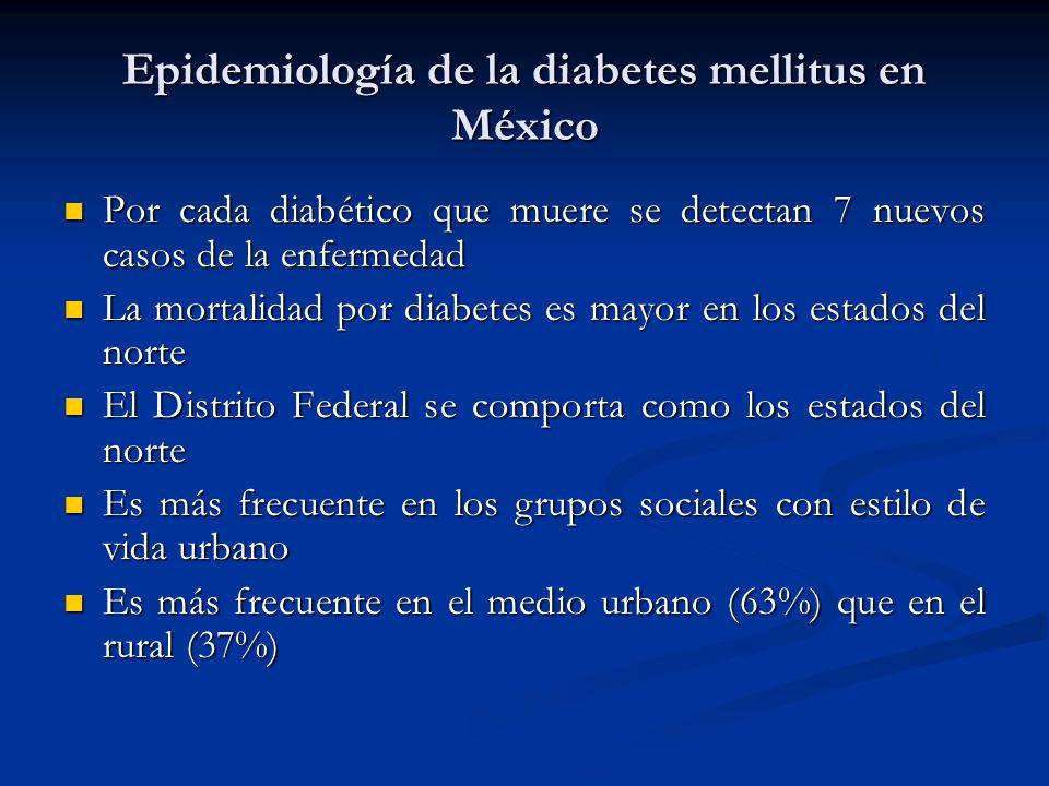 Epidemiología de la diabetes mellitus en México Por cada diabético que muere se detectan 7 nuevos casos de la enfermedad Por cada diabético que muere