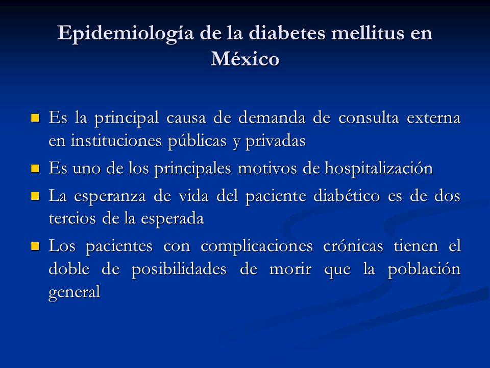 Epidemiología de la diabetes mellitus en México Es la principal causa de demanda de consulta externa en instituciones públicas y privadas Es la princi