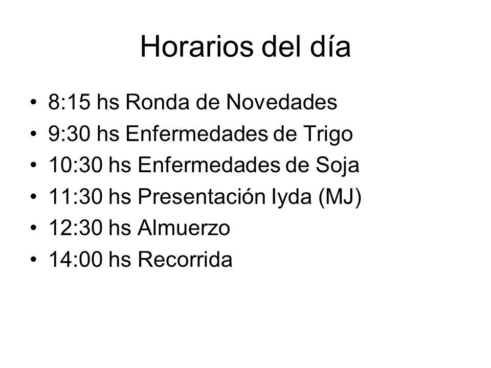 Horarios del día 8:15 hs Ronda de Novedades 9:30 hs Enfermedades de Trigo 10:30 hs Enfermedades de Soja 11:30 hs Presentación Iyda (MJ) 12:30 hs Almue