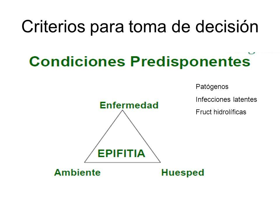 Criterios para toma de decisión Patógenos Infecciones latentes Fruct hidrolíficas