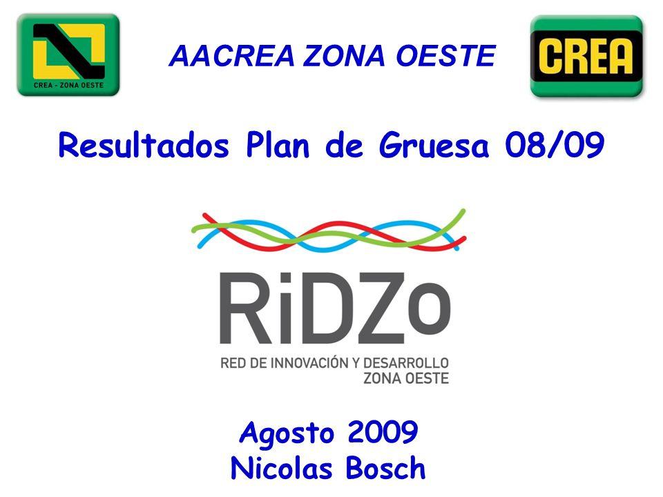 AACREA ZONA OESTE Resultados Plan de Gruesa 08/09 Agosto 2009 Nicolas Bosch