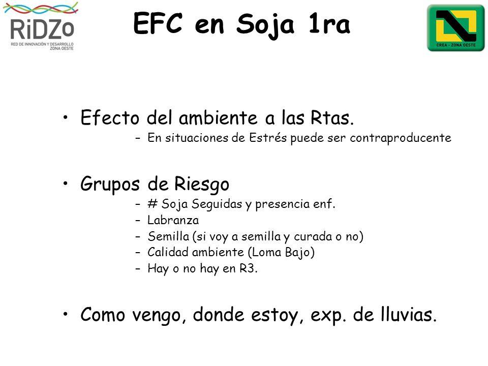 EFC en Soja 1ra Efecto del ambiente a las Rtas. –En situaciones de Estrés puede ser contraproducente Grupos de Riesgo –# Soja Seguidas y presencia enf