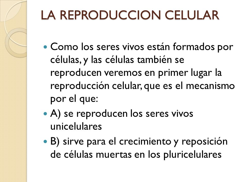 LA REPRODUCCION CELULAR Como los seres vivos están formados por células, y las células también se reproducen veremos en primer lugar la reproducción c