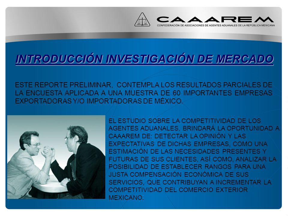 INTRODUCCIÓN INVESTIGACIÓN DE MERCADO ESTE REPORTE PRELIMINAR, CONTEMPLA LOS RESULTADOS PARCIALES DE LA ENCUESTA APLICADA A UNA MUESTRA DE 60 IMPORTANTES EMPRESAS EXPORTADORAS Y/O IMPORTADORAS DE MÉXICO.