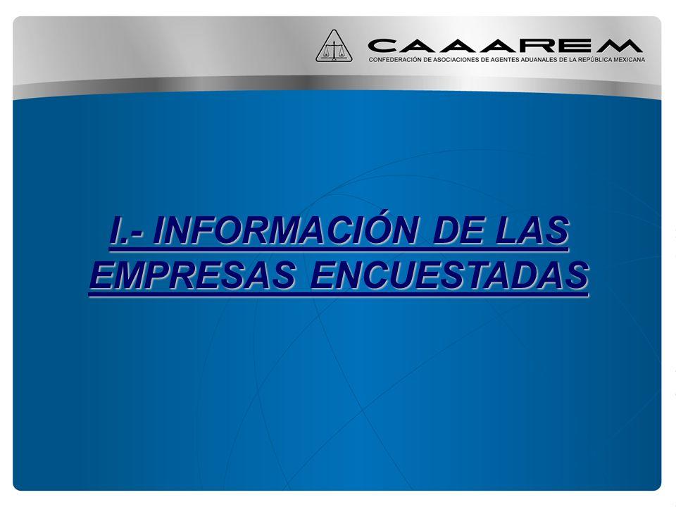 I.- INFORMACIÓN DE LAS EMPRESAS ENCUESTADAS