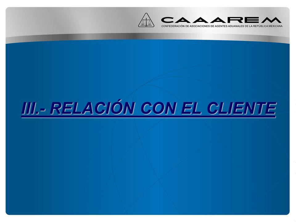 III.- RELACIÓN CON EL CLIENTE