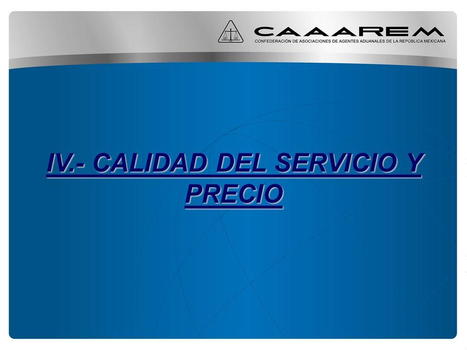 IV.- CALIDAD DEL SERVICIO Y PRECIO