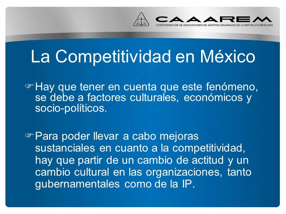 La Competitividad en México Hay que tener en cuenta que este fenómeno, se debe a factores culturales, económicos y socio-políticos. Para poder llevar