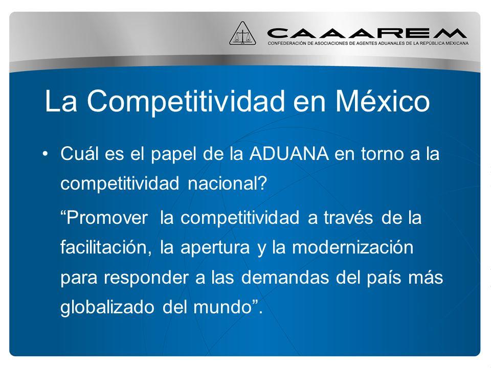 La Competitividad en México Cuál es el papel de la ADUANA en torno a la competitividad nacional? Promover la competitividad a través de la facilitació