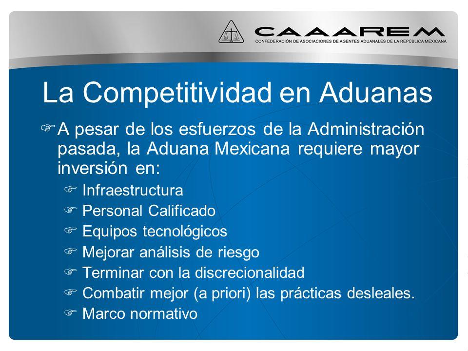 La Competitividad en Aduanas A pesar de los esfuerzos de la Administración pasada, la Aduana Mexicana requiere mayor inversión en: Infraestructura Per