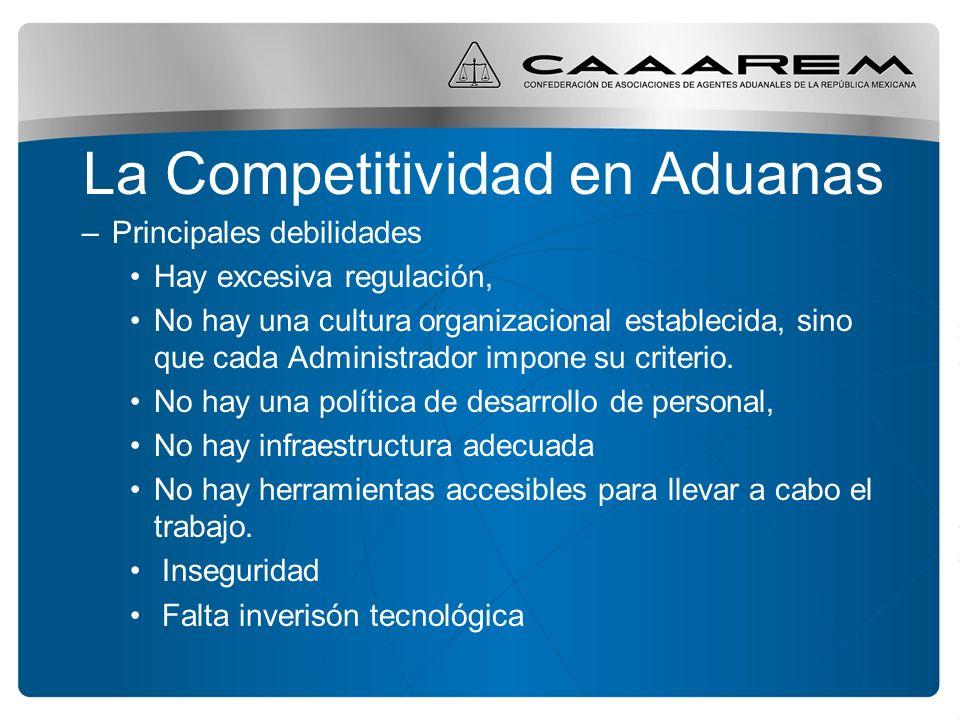 La Competitividad en Aduanas –Principales debilidades Hay excesiva regulación, No hay una cultura organizacional establecida, sino que cada Administra