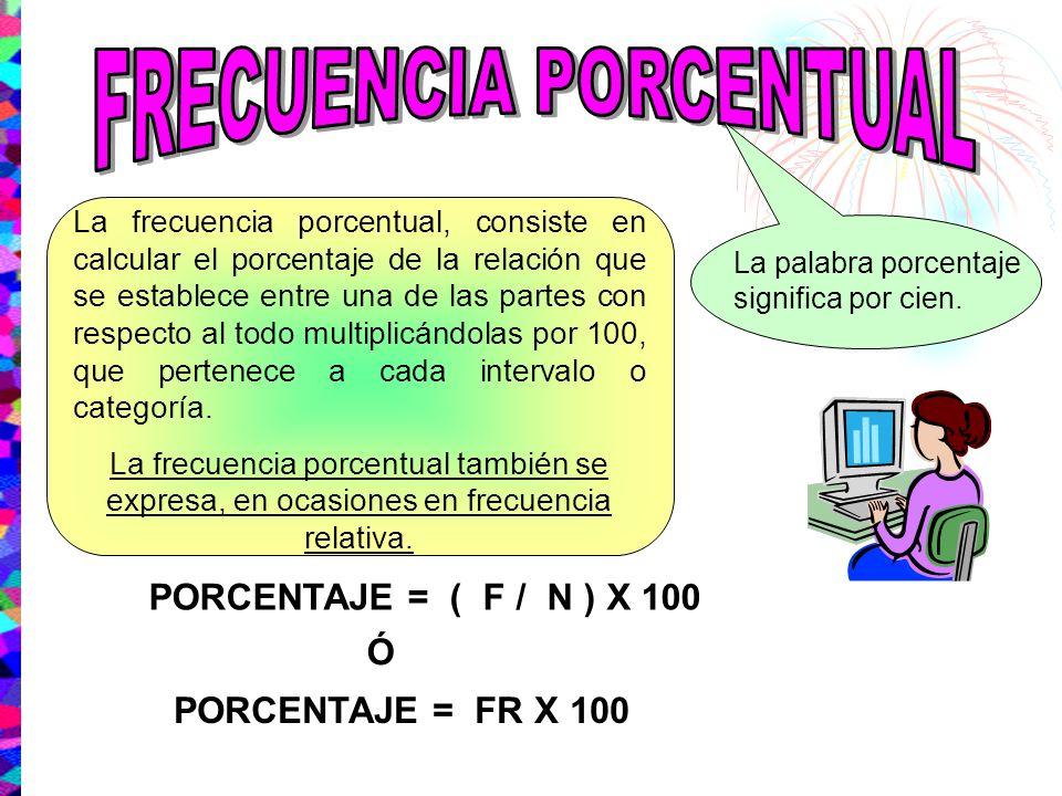 La frecuencia porcentual, consiste en calcular el porcentaje de la relación que se establece entre una de las partes con respecto al todo multiplicánd