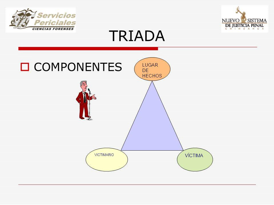 TRIADA COMPONENTES VICTIMARIO LUGAR DE HECHOS VÍCTIMA