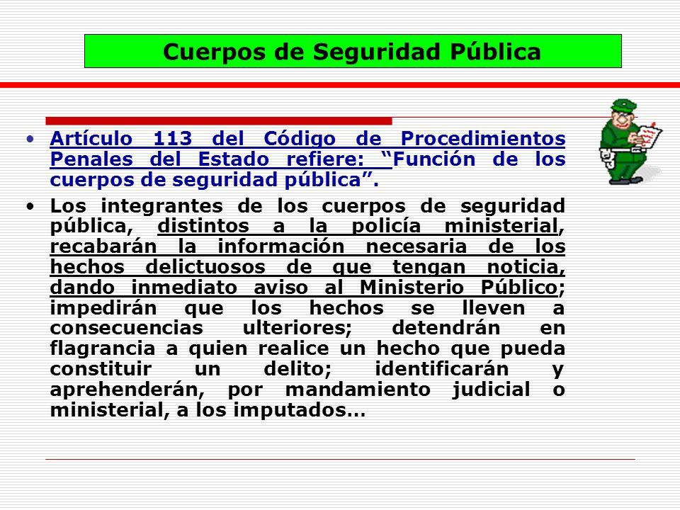 Artículo 113 del Código de Procedimientos Penales del Estado refiere: Función de los cuerpos de seguridad pública. Los integrantes de los cuerpos de s