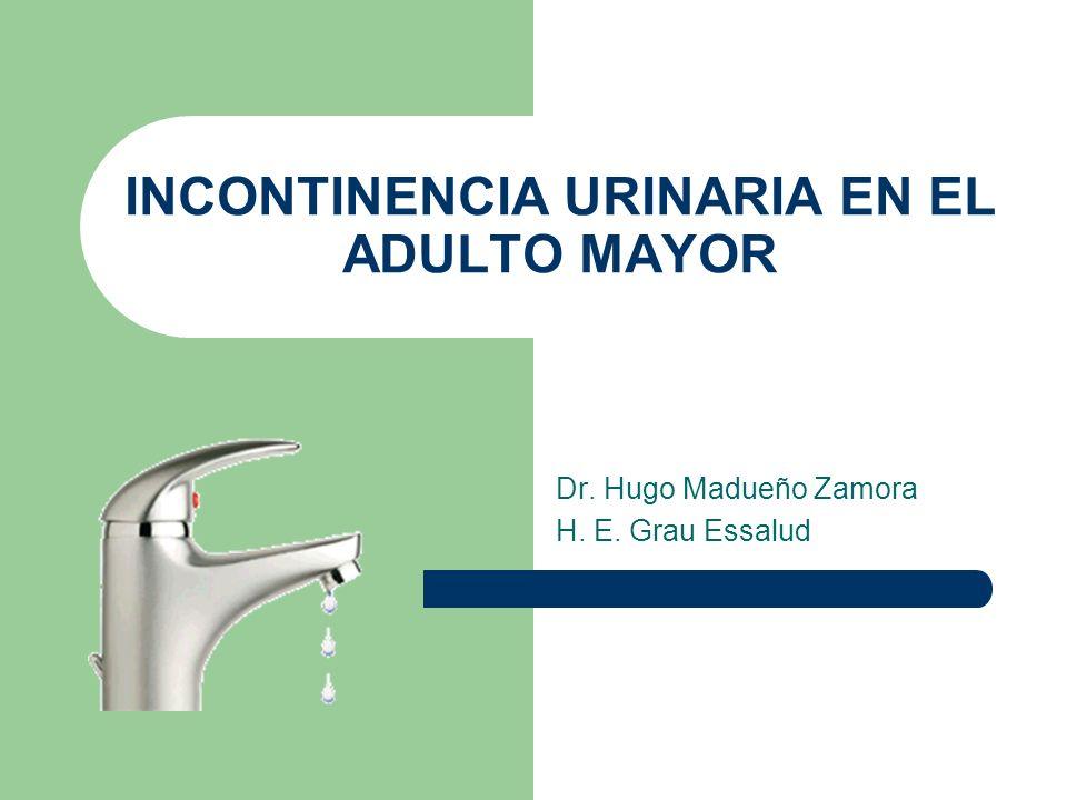 INCONTINENCIA URINARIA EN EL ADULTO MAYOR Dr. Hugo Madueño Zamora H. E. Grau Essalud