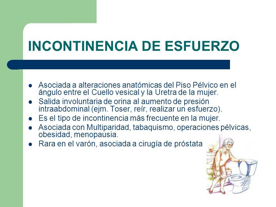 INCONTINENCIA DE ESFUERZO Asociada a alteraciones anatómicas del Piso Pélvico en el ángulo entre el Cuello vesical y la Uretra de la mujer. Salida inv