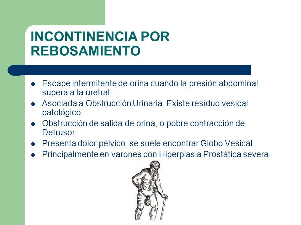 INCONTINENCIA POR REBOSAMIENTO Escape intermitente de orina cuando la presión abdominal supera a la uretral. Asociada a Obstrucción Urinaria. Existe r