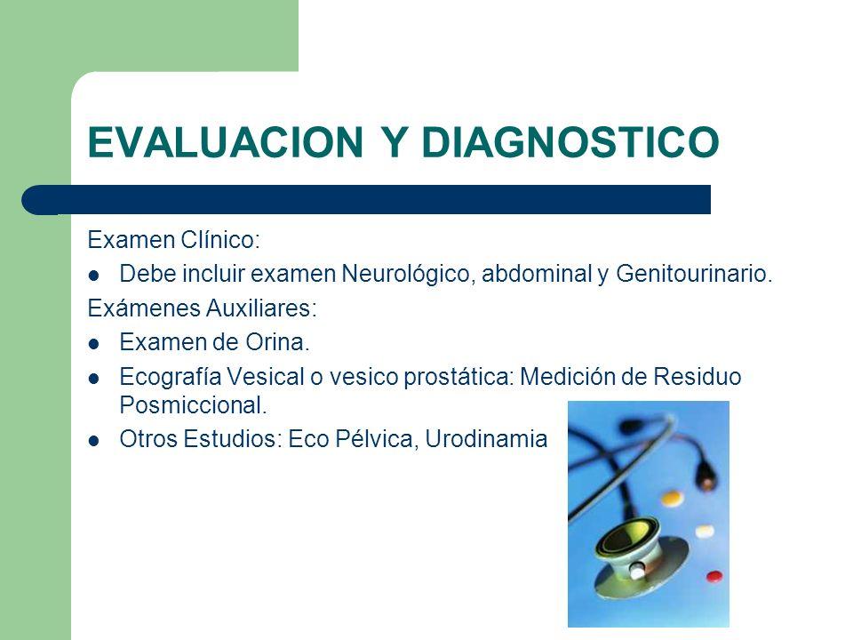 EVALUACION Y DIAGNOSTICO Examen Clínico: Debe incluir examen Neurológico, abdominal y Genitourinario. Exámenes Auxiliares: Examen de Orina. Ecografía