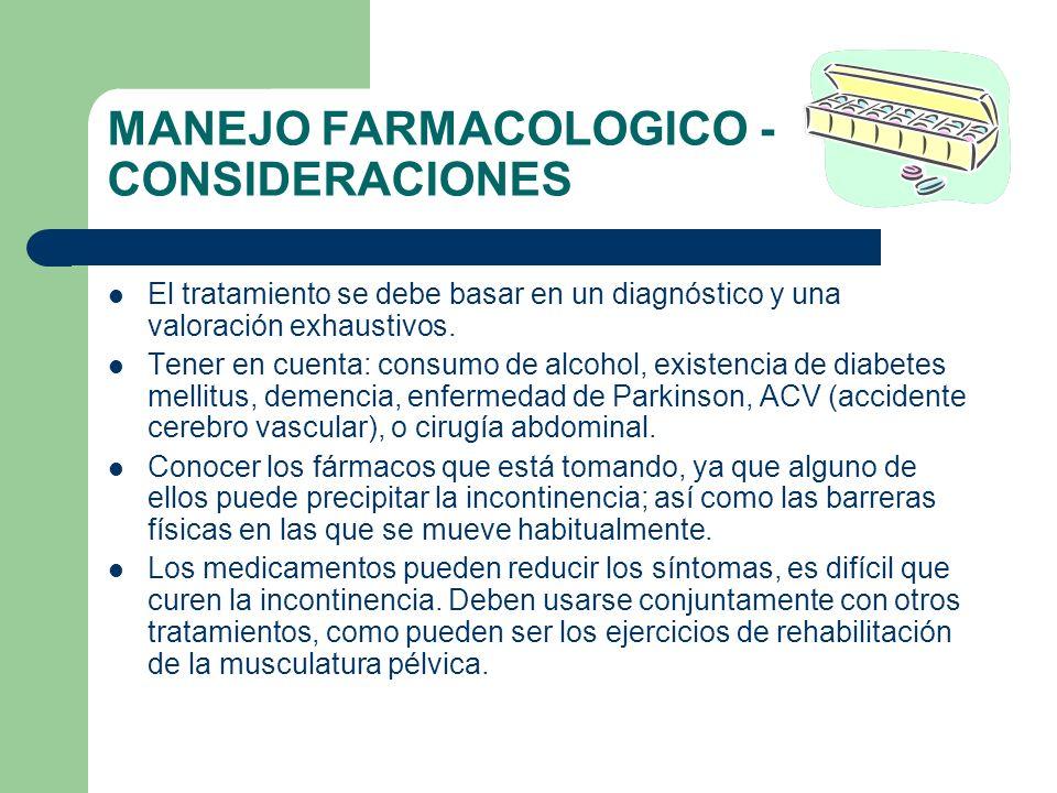 MANEJO FARMACOLOGICO - CONSIDERACIONES El tratamiento se debe basar en un diagnóstico y una valoración exhaustivos. Tener en cuenta: consumo de alcoho