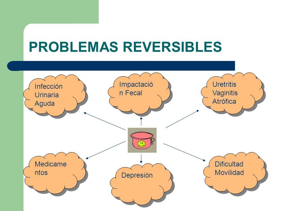 PROBLEMAS REVERSIBLES Impactació n Fecal Dificultad Movilidad Dificultad Movilidad Uretritis Vaginitis Atrófica Uretritis Vaginitis Atrófica Depresión