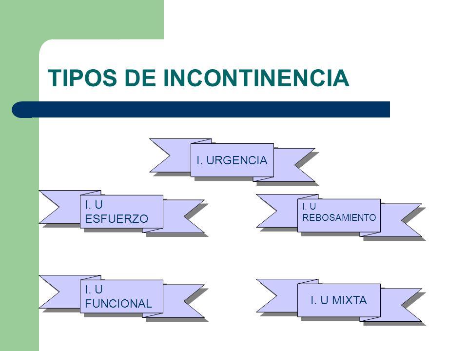 TIPOS DE INCONTINENCIA I. URGENCIA I. U ESFUERZO I. U REBOSAMIENTO I. U FUNCIONAL I. U MIXTA