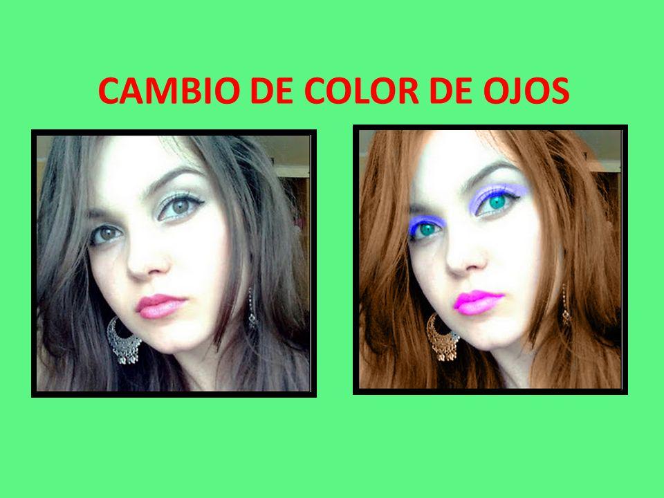 CAMBIO DE COLOR DE OJOS, CABELLO Y MAQUILLAJE: En las fotografías se pueden dar retoques como cambiar el color del cabello, color de ojos, pintado de labios y aplicar colorete o polvos de maquillaje a dicha fotografía.