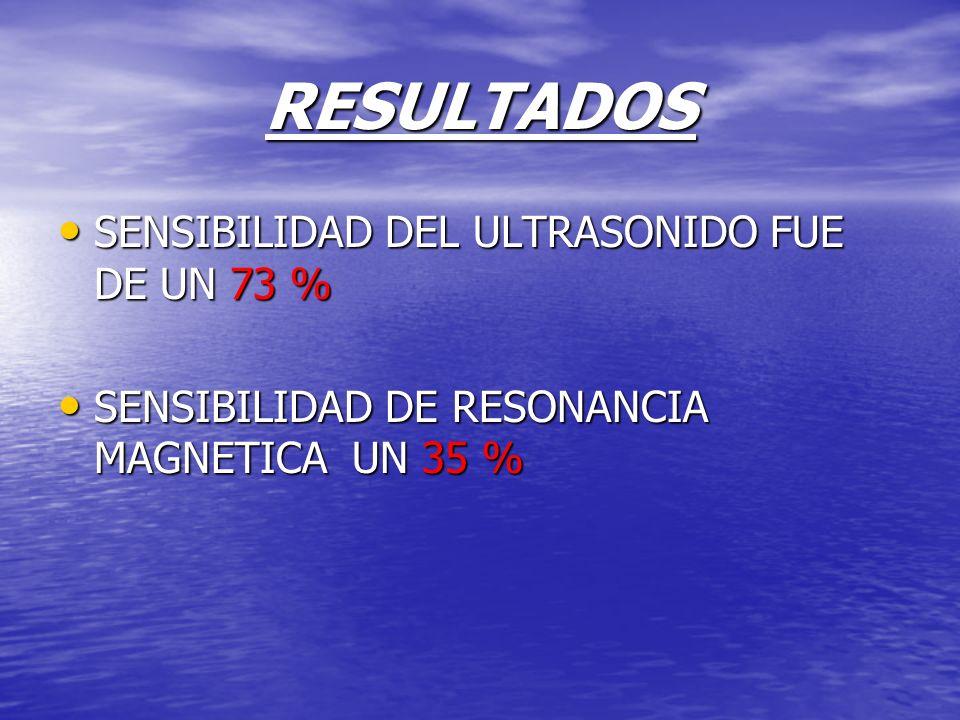 RESULTADOS SENSIBILIDAD DEL ULTRASONIDO FUE DE UN 73 % SENSIBILIDAD DEL ULTRASONIDO FUE DE UN 73 % SENSIBILIDAD DE RESONANCIA MAGNETICA UN 35 % SENSIB