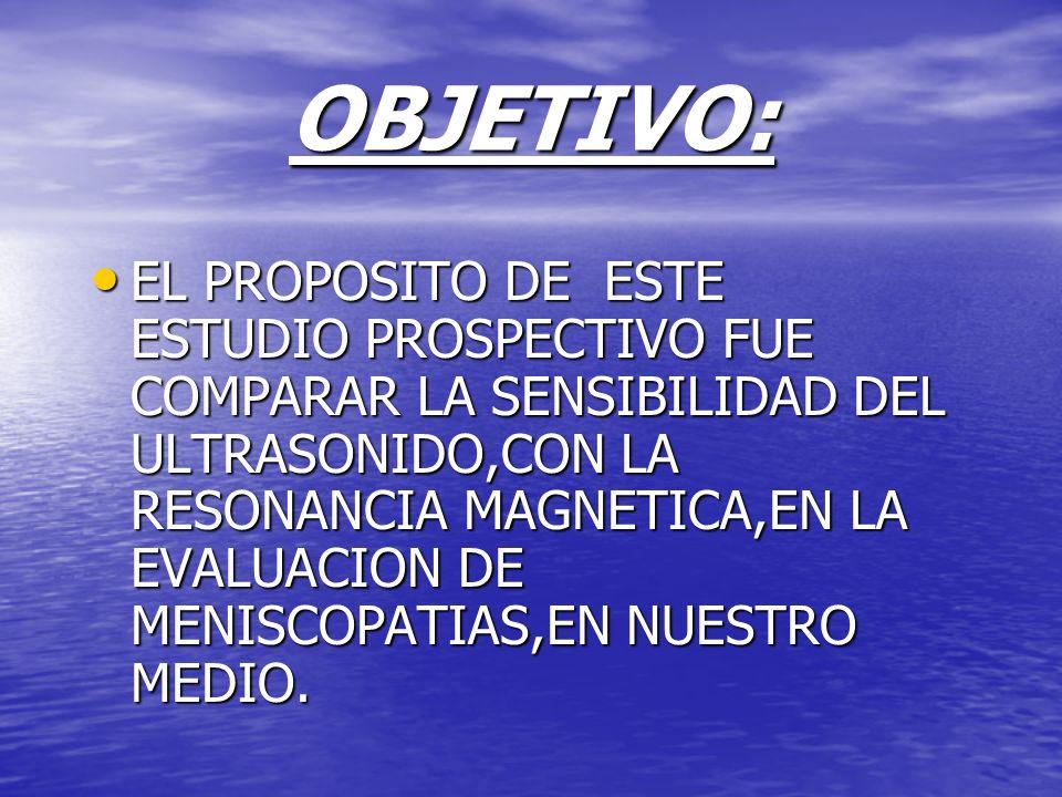 OBJETIVO: EL PROPOSITO DE ESTE ESTUDIO PROSPECTIVO FUE COMPARAR LA SENSIBILIDAD DEL ULTRASONIDO,CON LA RESONANCIA MAGNETICA,EN LA EVALUACION DE MENISC