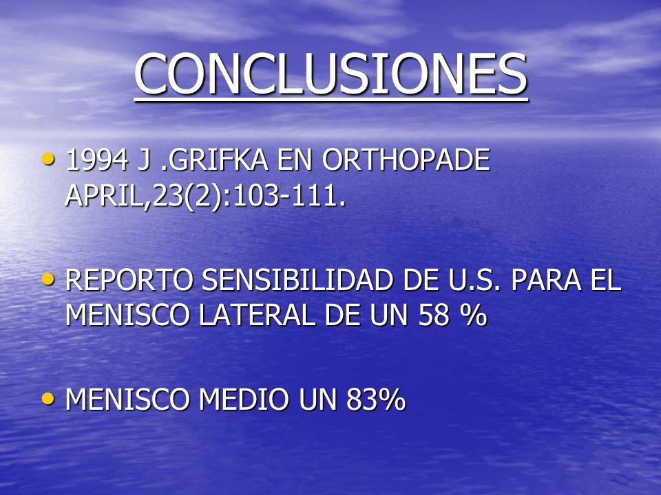 CONCLUSIONES 1994 J.GRIFKA EN ORTHOPADE APRIL,23(2):103-111. 1994 J.GRIFKA EN ORTHOPADE APRIL,23(2):103-111. REPORTO SENSIBILIDAD DE U.S. PARA EL MENI
