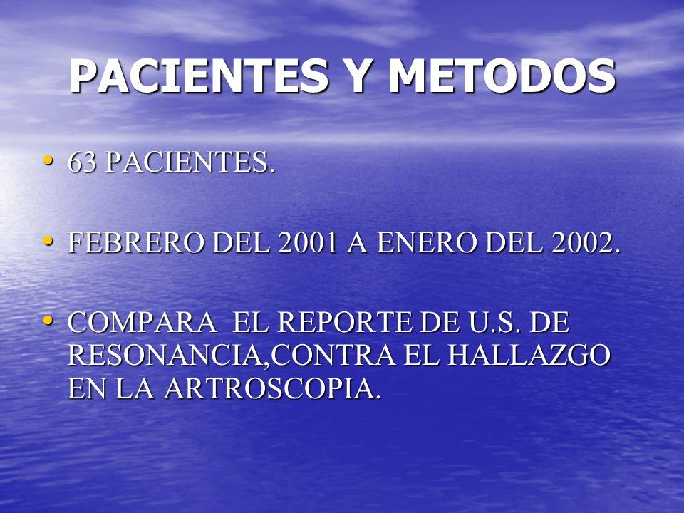PACIENTES Y METODOS 63 PACIENTES. 63 PACIENTES. FEBRERO DEL 2001 A ENERO DEL 2002. FEBRERO DEL 2001 A ENERO DEL 2002. COMPARA EL REPORTE DE U.S. DE RE