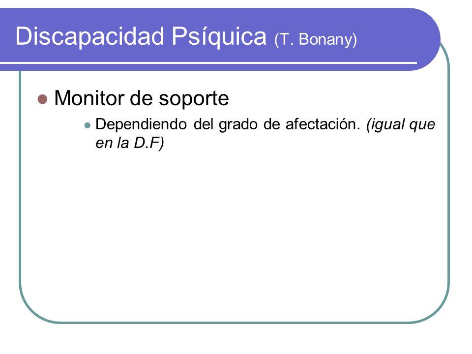 Discapacidad Psíquica (T. Bonany) Monitor de soporte Dependiendo del grado de afectación. (igual que en la D.F)