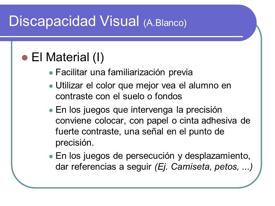 Discapacidad Visual (A.Blanco) El Material (I) Facilitar una familiarización previa Utilizar el color que mejor vea el alumno en contraste con el suel