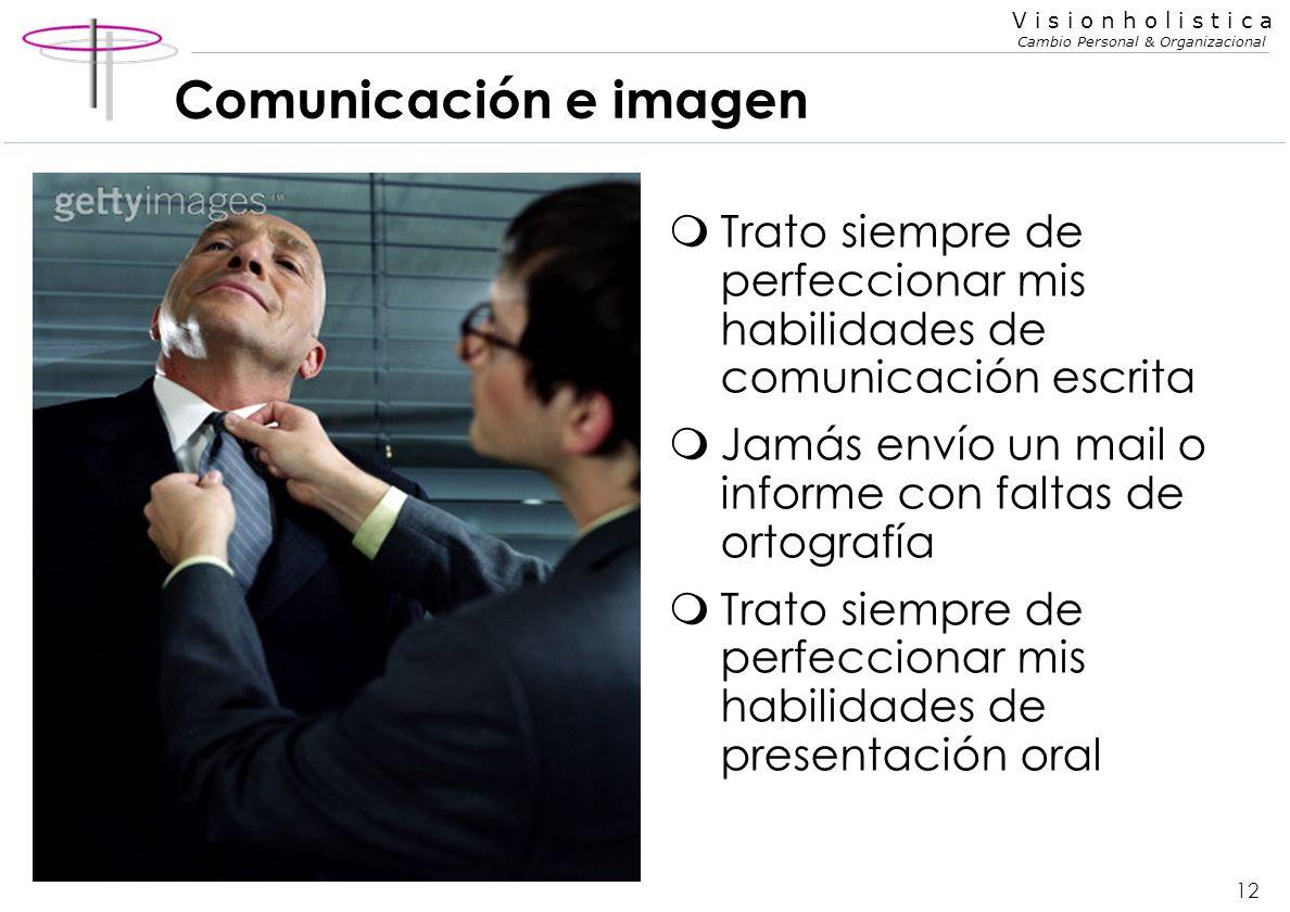 11 V i s i o n h o l i s t i c a Cambio Personal & Organizacional Comunicación e imagen mPresencia mRopa adecuada mLenguaje corporal y gestual calmo m