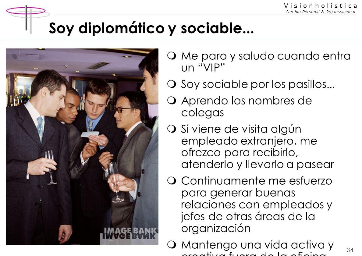 33 V i s i o n h o l i s t i c a Cambio Personal & Organizacional Soy diplomático y sociable... mFrecuentemente organizo encuentros sociales con mis c