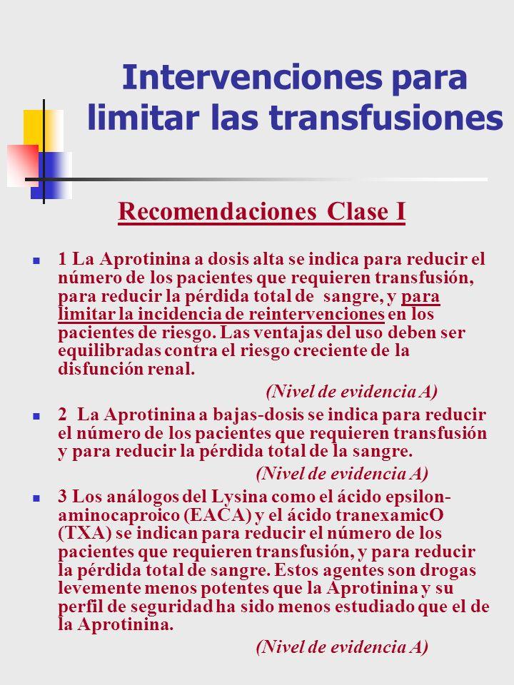 Intervenciones para limitar las transfusiones Recomendaciones Clase I 1 La Aprotinina a dosis alta se indica para reducir el número de los pacientes q