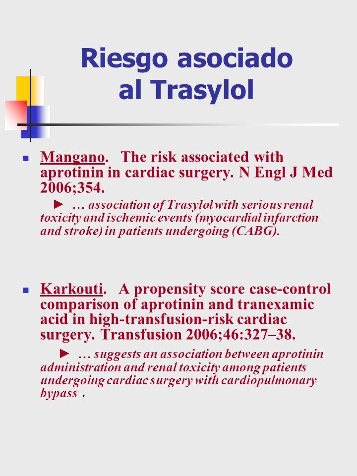 Riesgo asociado al Trasylol Mangano. The risk associated with aprotinin in cardiac surgery. N Engl J Med 2006;354. … association of Trasylol with seri
