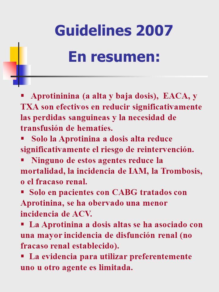Aprotininina (a alta y baja dosis), EACA, y TXA son efectivos en reducir significativamente las perdidas sanguineas y la necesidad de transfusión de h