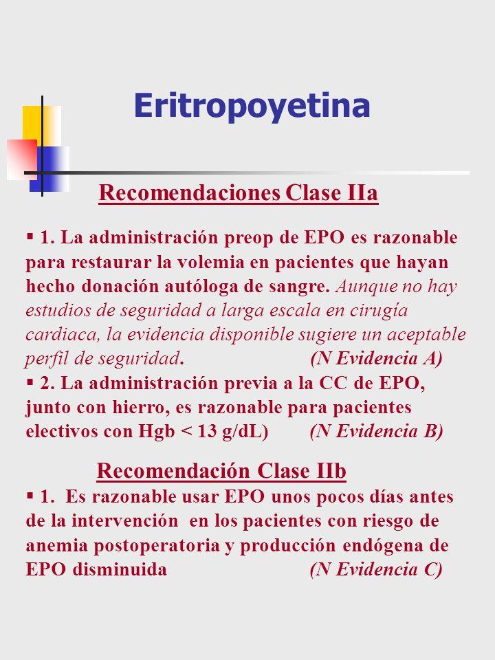 1. La administración preop de EPO es razonable para restaurar la volemia en pacientes que hayan hecho donación autóloga de sangre. Aunque no hay estud