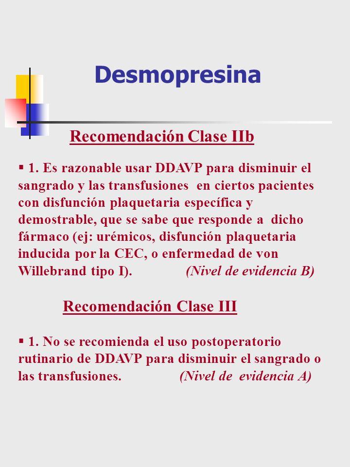 1. Es razonable usar DDAVP para disminuir el sangrado y las transfusiones en ciertos pacientes con disfunción plaquetaria específica y demostrable, qu