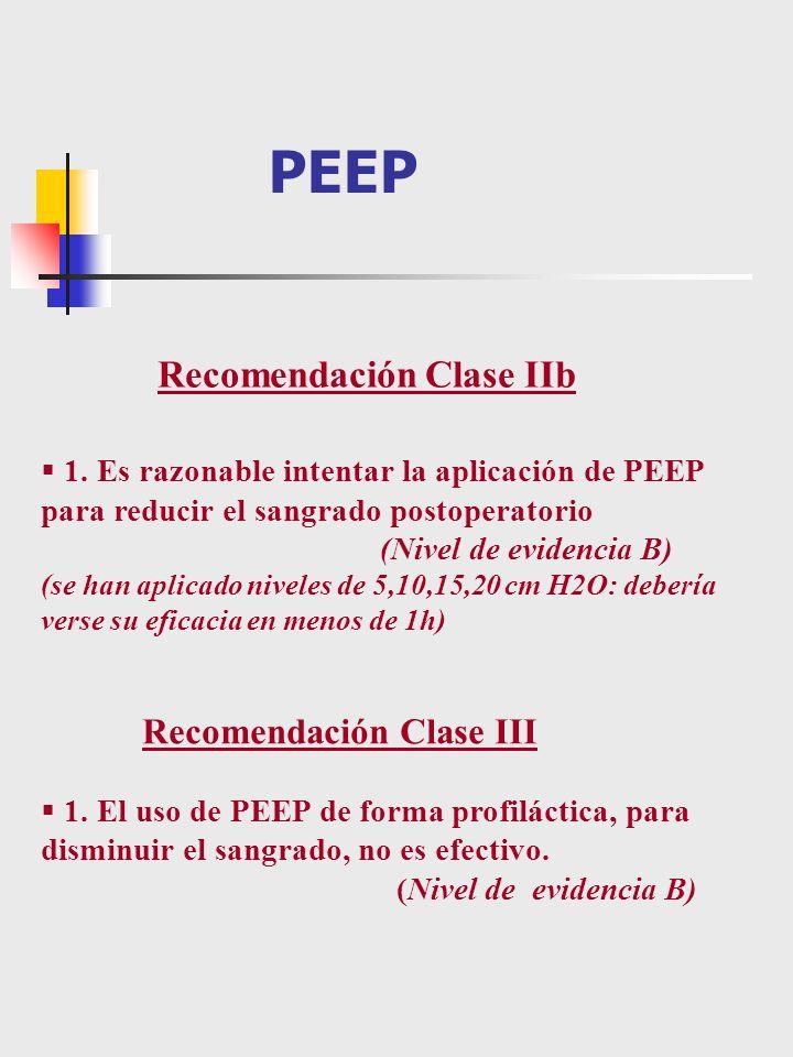 1. Es razonable intentar la aplicación de PEEP para reducir el sangrado postoperatorio (Nivel de evidencia B) (se han aplicado niveles de 5,10,15,20 c